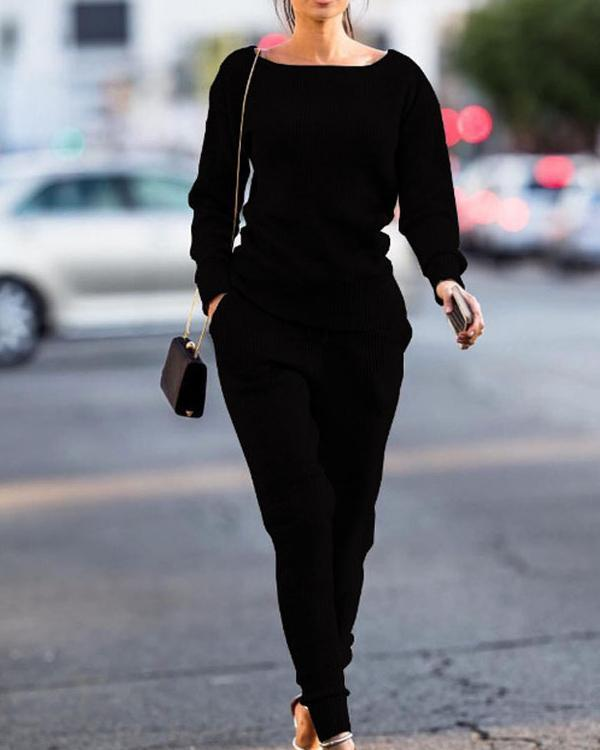 Casual Round Neck Sports Suit