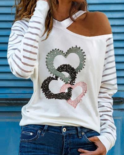 Triple Hearts Print One Shoulder Long Sleeves Casual Blouses