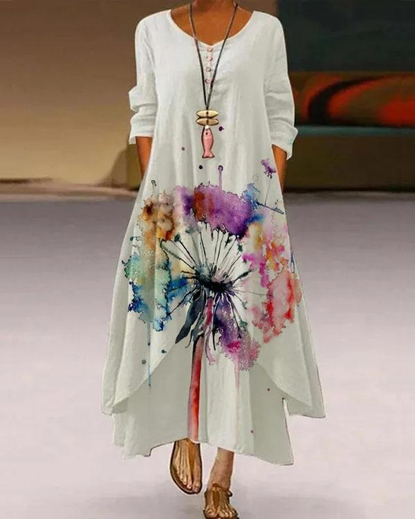 Casual Dandelion Long Sleeve Crew Neck Maxi Dresses