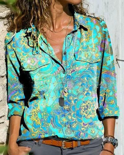Floral Print Lapel Long Sleeve Button Up Blouses