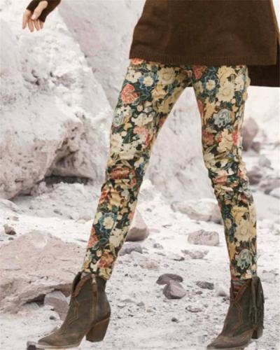 Women Floral Print Leggings Casual Pants