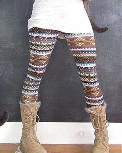 Stripe Vintage Print Leggings Casual Pants