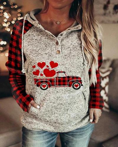 Women's Color-block Plaid Long-sleeve Pocket Hoodie