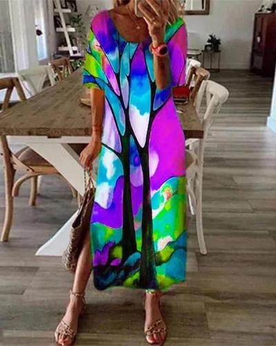Casual Multicolor Print Short Sleeve Slit Plus Size Dress