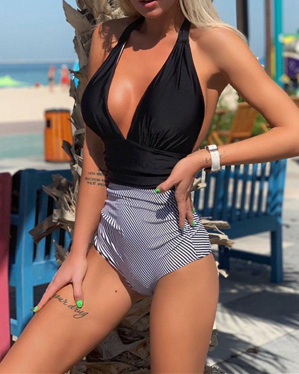 Sexy Color Matching Pleated One Piece Women's Bikini Swimsuit