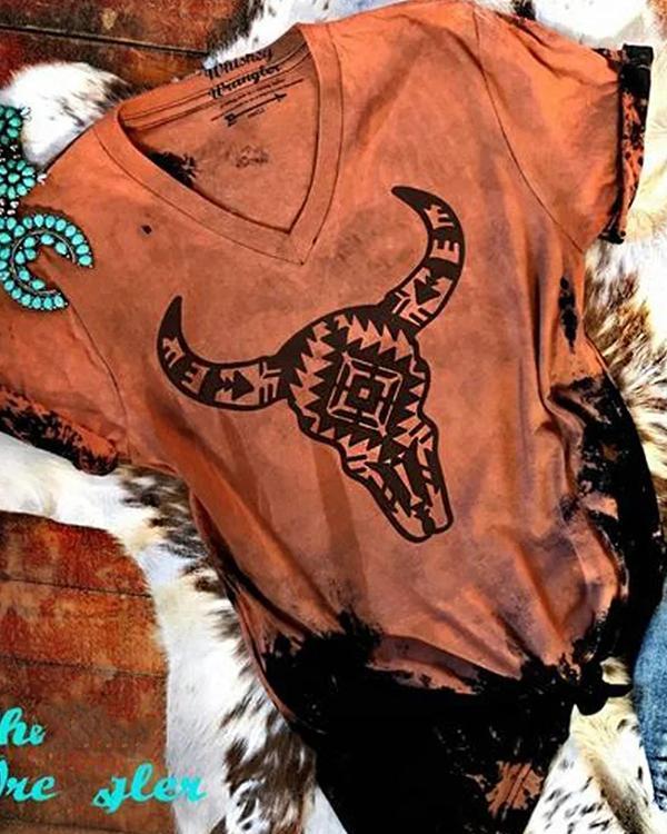 Women Summer Daily Vintage Oxhead Printed V Neck Short Sleeve T-Shirt