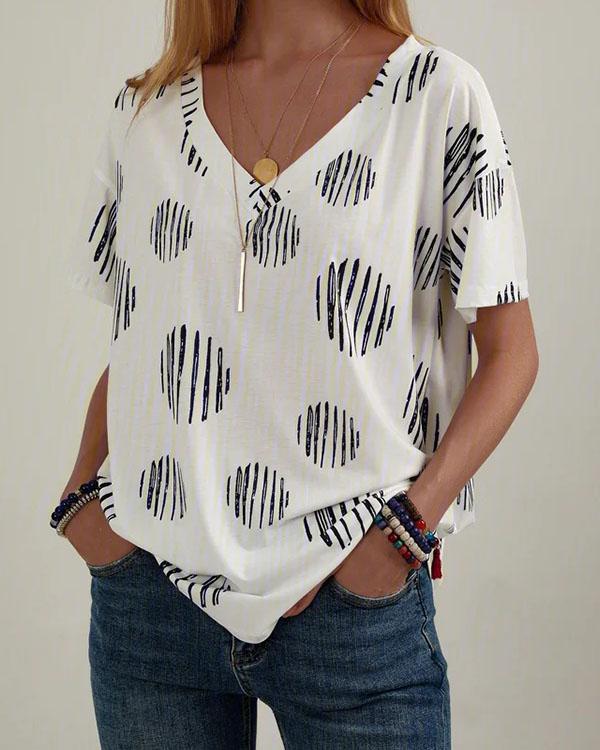 Polka Dots Shift Casual V Neck Shirts & Tops