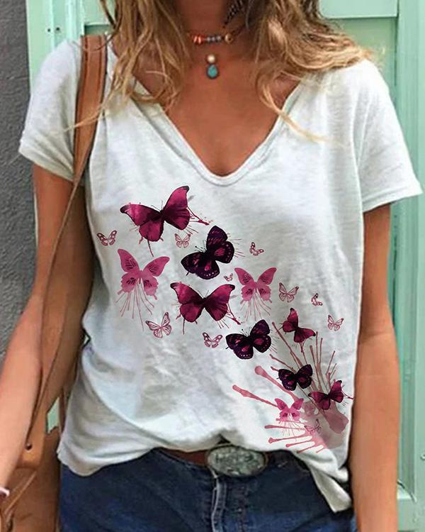 Women Summer Butterfly Printed V Neck Short Sleeve T-Shirt