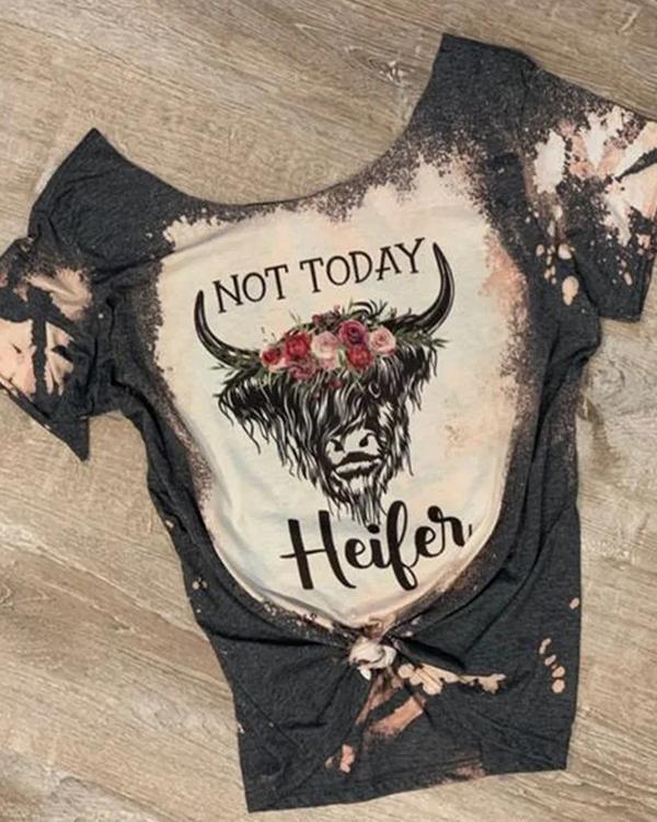 Women Summer Vintage Bull Head Printed Short Sleeve T-Shirt