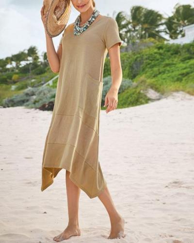 Irregular Solid Short Sleeve Dress With Pocket