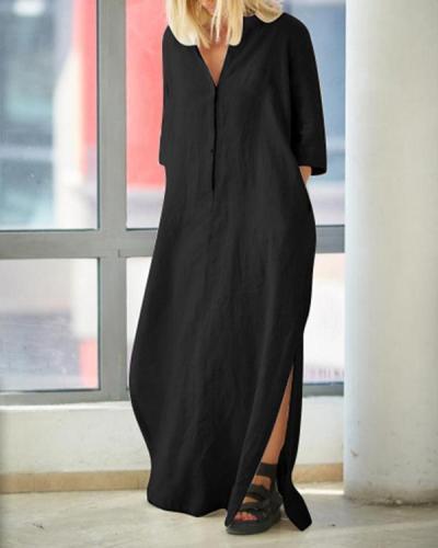 Women's V-neck Solid Color Linen Dress