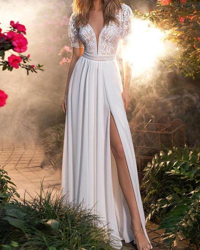 Elegant Backless Short Sleeve Wedding Dress Holiday Slit Dress
