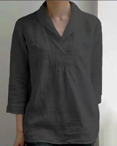 Women's Solid Color Linen Tops