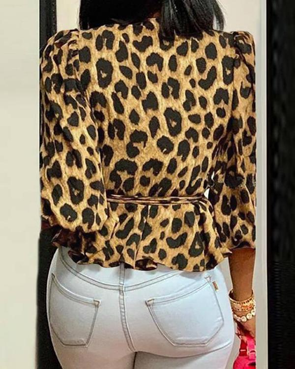 Women Plus Size Leopard Print Blouses