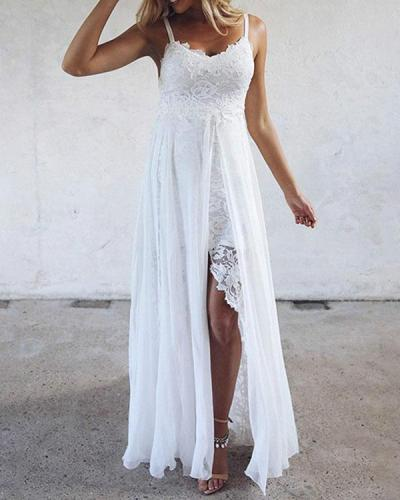 Elegant Spaghetti Strap Holiday Floral Lace Slit Dress