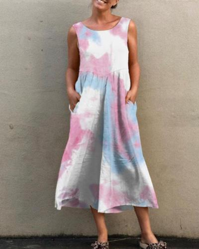 Tie Dye/Print Casual Overalls Cropped Pants Jumpsuits