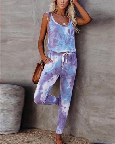 Round Neck Tie Dye Two Pieces Vest&Pants Suits