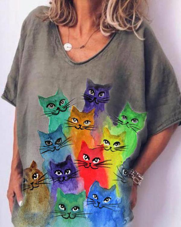 Cat Print Casual Short Sleeves Shirts & Top