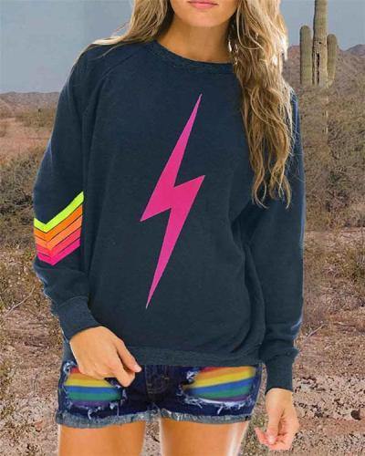 Casual Printed Crew Neck Long Sleeve Sweatshirt