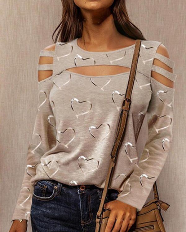 Loose Round Neck Long Sleeve Printed Shirt