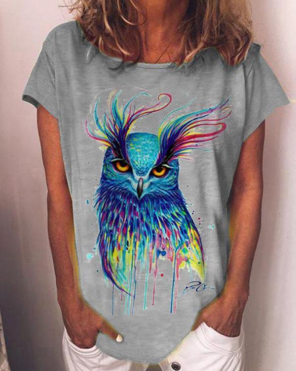 Animal Print Casual Short Sleeves Shirts & Top