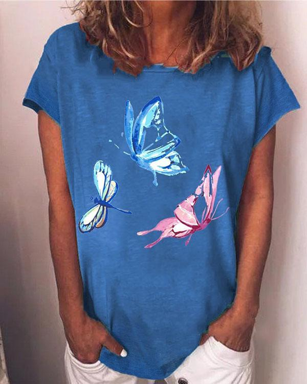 Hot Sale Butterfly Print Casual Short Sleeves T-Shirts