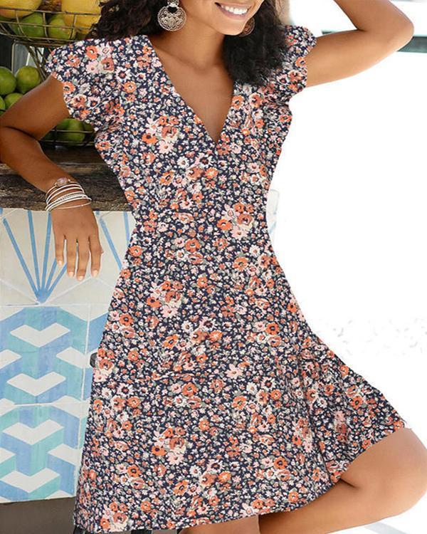Floral Pullover Women's Dress Short Sleeve A-line Dresses