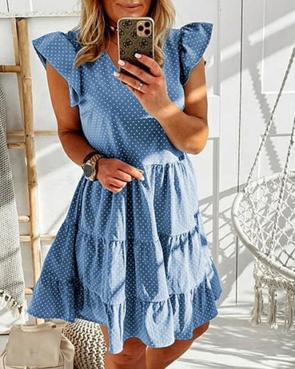 Polka Dot Ruffle Mini Dress Short Sleeve A-line Dresses