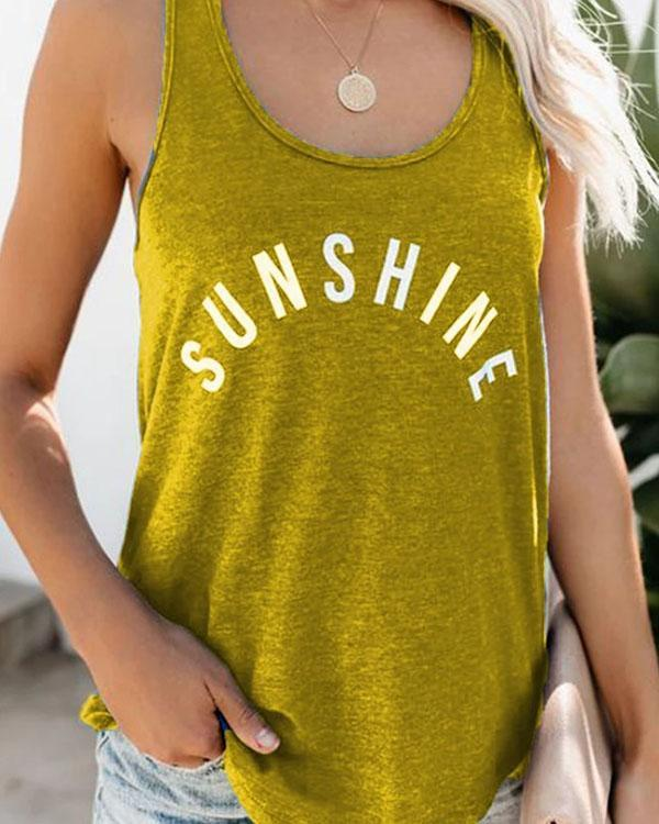 The Letters Print Summer Casual Tank Tops
