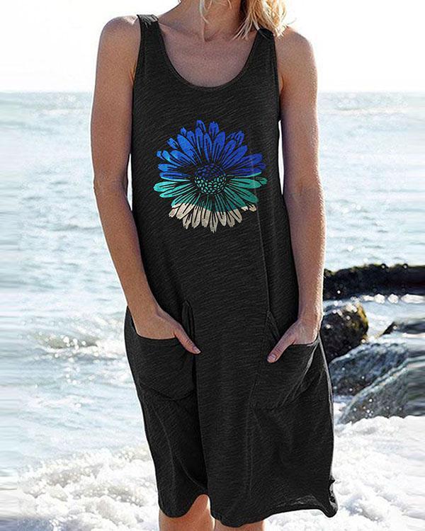 Floral Print Super Soft Pockets Casual Mini Dress