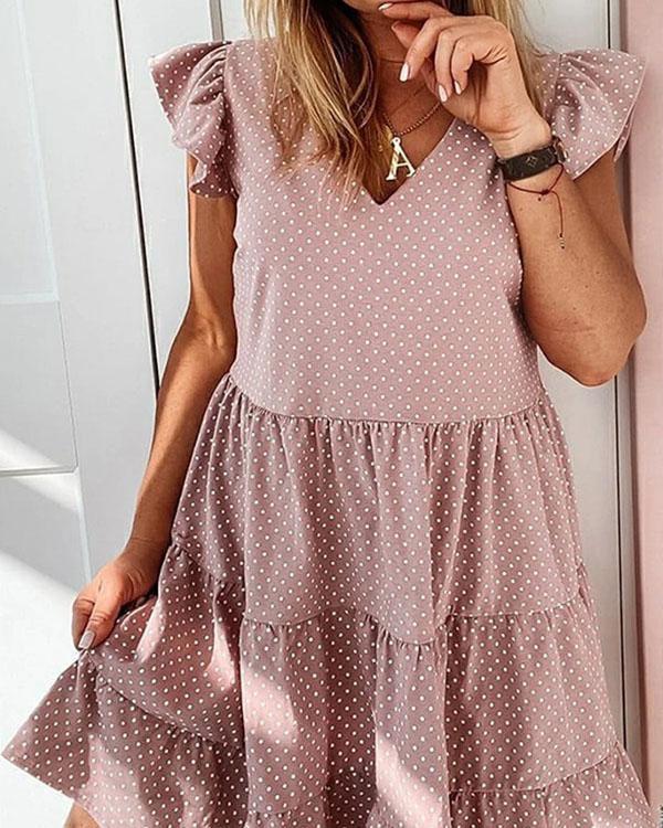 Polka Dot Ruffle Mini Dress Short Sleeve A-line Dresses