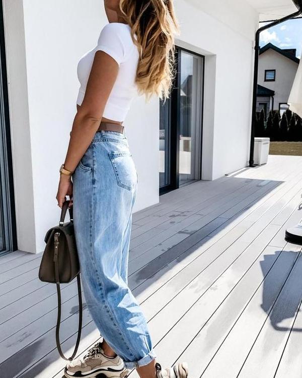 Women Fashion Denim Casual Daily Pants