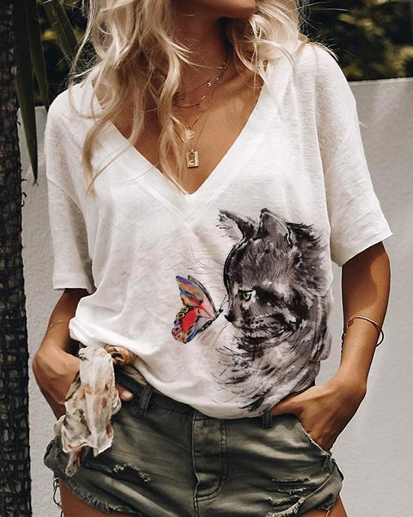 Hot Sale Cat Print Casual Short Sleeves T-Shirts