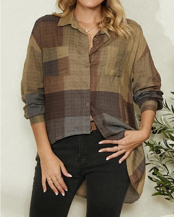Contrast Color Block Asymmetric Casual Blouse For Women