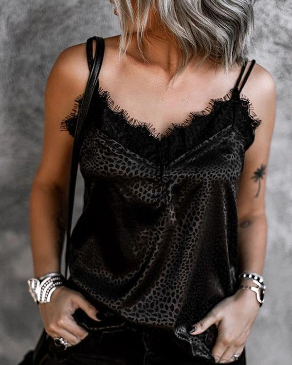 Lace Leopard Spaghetti Strap Sleeveless Button Up Casual Sexy Tank Tops
