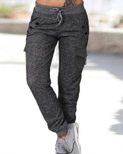 Pockets Shirred Plus Size Long Casual Sporty Plain Pants