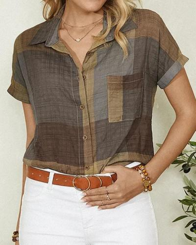 Contrast Color Block Button Short Sleeve Casual Blouse For Women