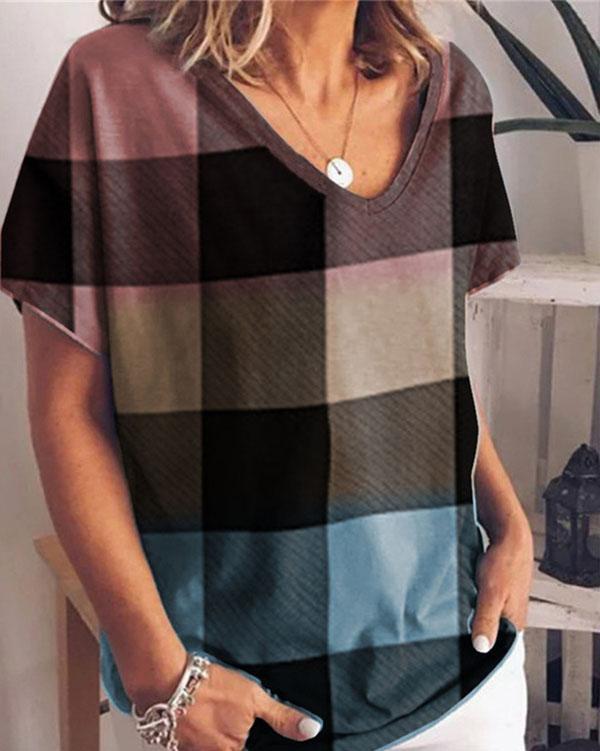 Gradient Print Short Sleeve Loose T-Shirt