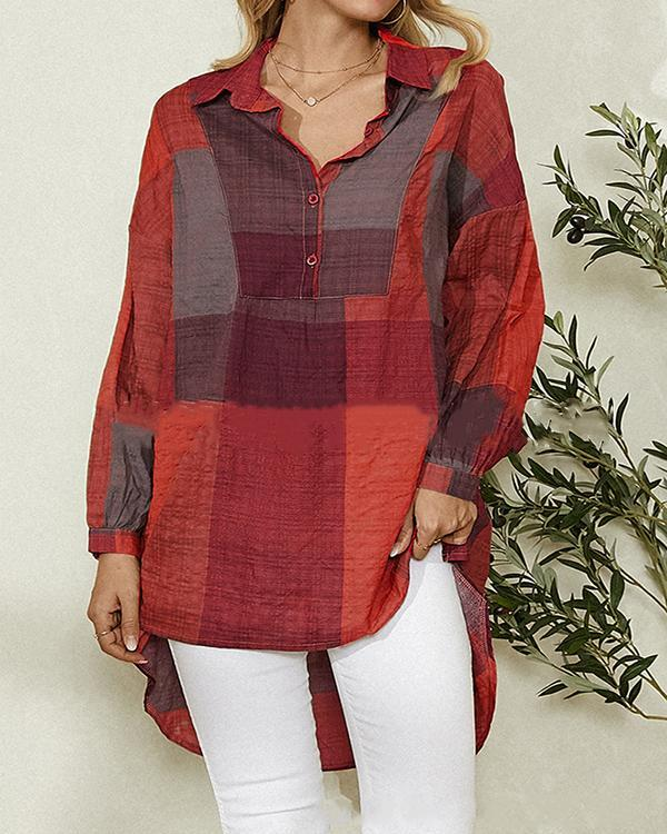 Contrast Color Block Shirt Collar Long Sleeve Casual Blouse For Women