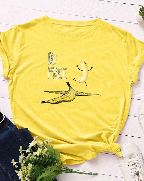 Be Free Print Short Sleeve T-Shirt