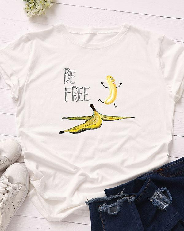Be Free Print Short Sleeve T-Shirt