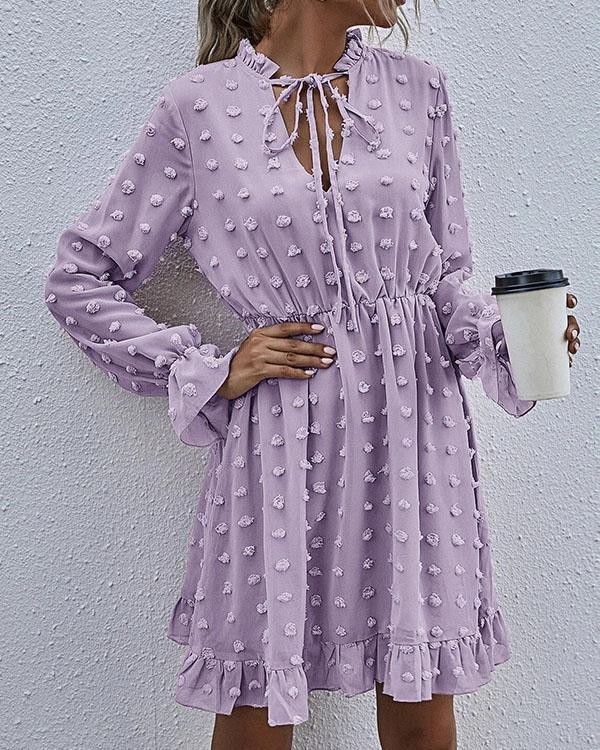 Fashion Chiffon Lace up Highwaist Ruffle Dress