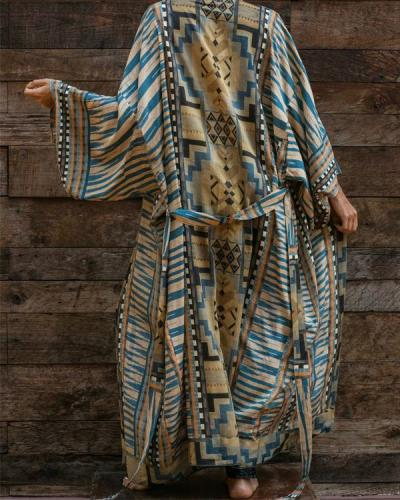 Womens Geometry Print Long Sleeve Bathing Suit Cover up