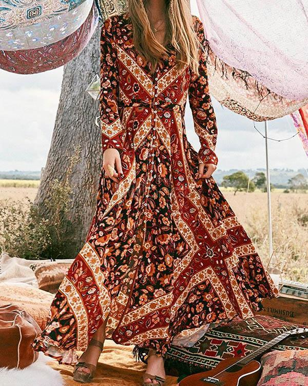 Bohemian Long Sleeve Floral Printed V Neck Maxi Dress