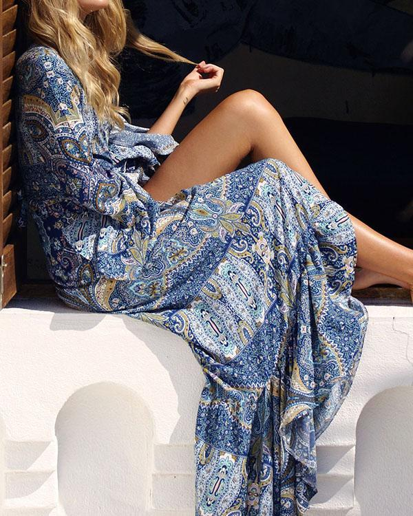 Bohemian Long Sleeve Printed V Neck A Line Maxi Dress
