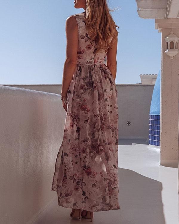 Sleeveless Floral Printed Holiday Beach Slit Maxi Dress