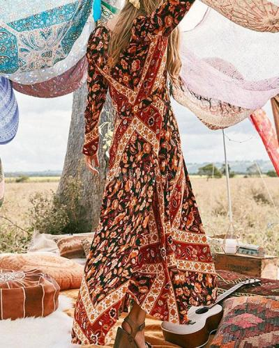 Bohemian Long Sleeve Floral Printed V Neck Maxi Dress