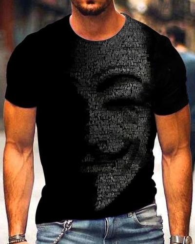 Men's Art Print Crew Neck Black T-shirt