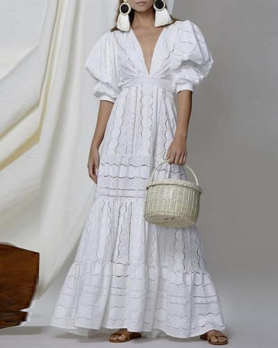 Personalized V Neck Highwaist Hollow Ruffle Puff Sleeve Maxi Dress