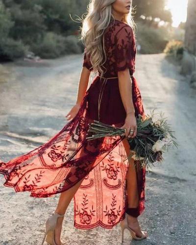 Sexy V Neck Floral Hollow Transparent Holiday Maxi Dress